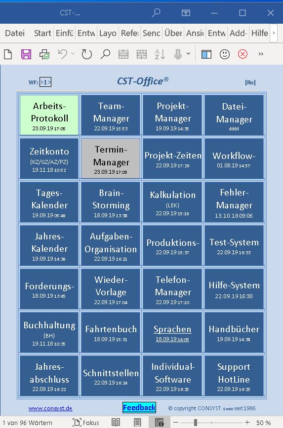 CST App-Übersicht
